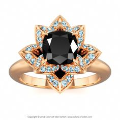 Flower Ring Lotus Blossom Petite Cushion at Colors of Eden #engagement #ring