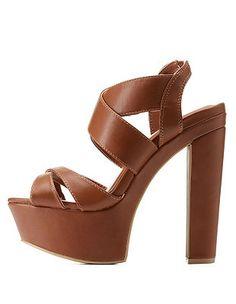 Crisscross Platform Chunky Heels: Charlotte Russe
