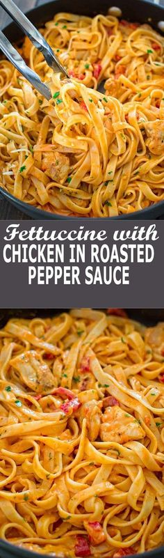 This elegant and creamy Fettuccine with Roasted Pepper Sauce and Chicken is made. This elegant and creamy Fettuccine with Roasted Pepper Sauce and Chicken is made in under 30 minutes and requires just 6 ingredients. Your guests and . Italian Recipes, New Recipes, Cooking Recipes, Healthy Recipes, Favorite Recipes, Cheap Pasta Recipes, Easy Recipes, Sauce Recipes, Food Recipes Snacks