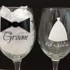 Bride & Groom Glasses!  Cute toasting set for those that don't use champagne glasses!