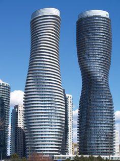 The Marilyn Monroe Absolute Towers Residential condominium in Mississauga - Ontario - Canada Unique Buildings, Building Facade, Condominium, Marilyn Monroe, Modern Architecture, Skyscraper, Amazing, Condos, Sacramento