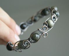 Golden Obsidian - brass wire wrapped bangle bracelet