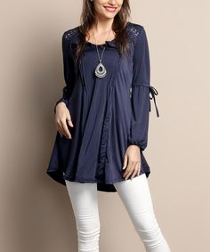 Look what I found on #zulily! Navy Peasant Tunic - Plus by Reborn Collection #zulilyfinds