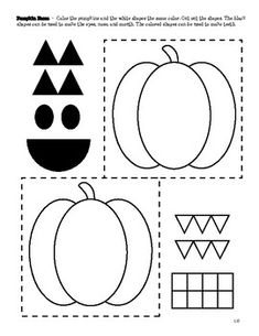 Create a jack-o-lantern face with shapes! Cut out the shapes and place on the pumpkins - see how many different faces you can make! A math Halloween activity from Our Time to Learn. Halloween Math, Halloween Activities, Jack O Lantern Faces, Science Worksheets, Teacher Newsletter, Homeschool, Pumpkin, Symbols, Shapes