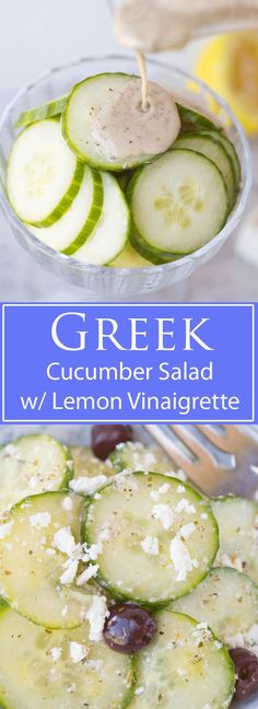 Cucumber and Feta salad w/ Lemon Greek vinaigrette: A bright and vibrant, and will make your taste buds sing! It's a healthy and delicious snack or grab and go vegetarian lunch, and is an excellent quick and easy summer side dish to whip up for your next