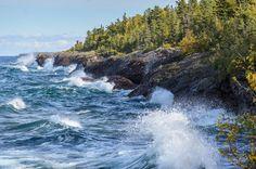 Waves on Lake Superior crashing along the rocky shoreline in the tip of Keweenaw Peninsula - Copper Harbor, MI. Copper Harbor Michigan, Keweenaw Peninsula, Lake Superior, Small Trees, Small Island, Landscape Photos, Nature Photos, River, Outdoor