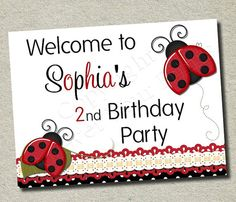 Ladybug Birthday Party Sign for a little girl's ladybug themed party $8 instant download #ladybug #partysign