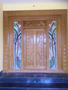 House Front Wall Design, Wooden Front Door Design, Double Door Design, Pooja Room Door Design, Door Design Interior, House Design, Wooden Double Doors, Wooden Front Doors, Drawing Room Ceiling Design
