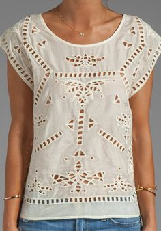 Bianca Embroidered Top in Ivory by Greylin