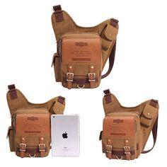 Men Retro Canvas Travel Shoulder Bags Recreation Messenger Bag - US$26.99