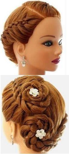 Rolled up French braid twist #peinadosrecogidos