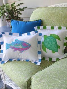 Fish & Sea Turtle Pillows by LemondaisyDesign