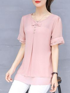 Solid Bow Casual Plus Size Frill Sleeve Chiffon Blouse - PopJulia.com