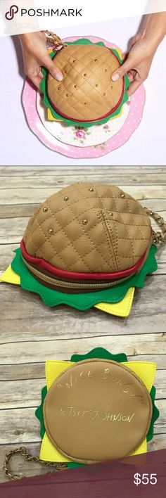 Betsey Johnson Hamburger wristlet Purse clutch New without tags.  Super fun and funky! Perfect condition. Betsey Johnson Bags Clutches & Wristlets