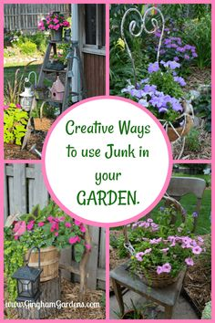 Get some super cute ideas for adding character to your gardens using junk from flea markets estate sale and garage sales. Get some super cute ideas for adding character to your gardens using junk from flea markets estate sale and garage sales. Rustic Garden Decor, Vintage Garden Decor, Rustic Gardens, Country Garden Decorations, Vintage Gardening, Covent Garden, Organic Gardening, Gardening Tips, Rainbow Diy
