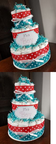 Diaper Cakes 117018: 3 Tier Diaper Cake - Teal Blue And Red W White Polka Dots Diaper Cake For Boys -> BUY IT NOW ONLY: $43 on eBay!