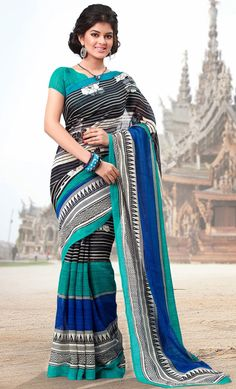 Designer Black and Blue Cotton with Silk Casual Saree - IG331411USD $ 36.76