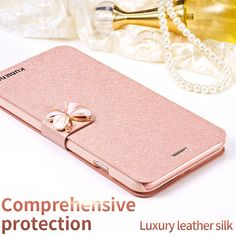 Silk Leather Phone Case For iPhone 7 7 Plus 6 6s Plus 5 5s SE Luxury Beautiful Butterfly Diamond Flip Wallet Stand Cover Case