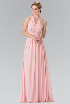 Chiffon floor length bridesmaid dress in 6 colors.. Featuring V neck halter top with tie back. Accented waist band to hug your curves, soft gathers around the waist for extra fullness.. Sizes XS - 3XL