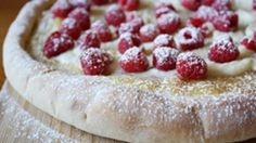 A delicious, refreshing dessert pizza made with fresh raspberries and airy, light mascarpone cheese.
