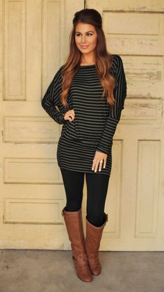 Dottie Couture Boutique - Banded Dolman Tunic- Black/Olive, $29.00 (http://www.dottiecouture.com/banded-dolman-tunic-black-olive/) www.louboutinboots.at.nr Fashion high heels, fashion girls shoes and men shoes ,just here with $129 best price