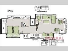 2013 Phaeton Floor Plan 36 Gh Tiffin Motorhomes Rv