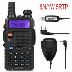 Baofeng UV-5RTP 136-174/400-520 MHz Dual-Band FM1/4/8W Two-way Ham Radio Walkie Talkie + Remote Speaker+Programming Cable