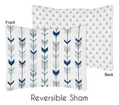 Mod Arrow Grey, Navy and Mint Collection Pillow Sham (Sham-ModArrow-GY-MT)