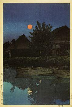 川瀬巴水 Hasui Kawase『昇る月』(1931)大田区立郷土博物館蔵