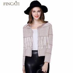 Runway Winter Spring Fincati Fashion Women Cardigan Sweater Plaid Design Tassels Open Stitch Knitwear Outwear Coat