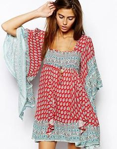 Free People Dress in Paisley Print with Flared Sleeve: