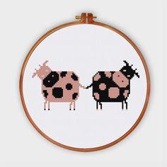 Funny Cow cross stitch pattern easy beginner kit modern cute baby animal nursery decor