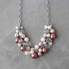 Burgundy Pink Pearl Glass Rhinestone Cluster Bib by YuniDesigns