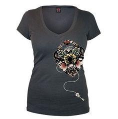Heart Lock Women s V Neck Tee by Lucky 13 Rockabilly Shirts ffc135ab3