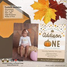 Glitter and Gold Pumpkin Birthday Party Printable Photo Invitations First…