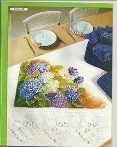 Pintura em Tecido Criando Artes e Idéias...: Trabalho de Pintura em Tecido e Crochê nº 09