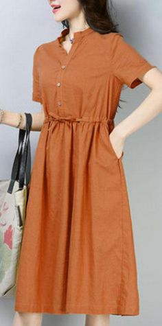3e4f3d07634 New cotton linen dress plus size Women Casual Short Sleeve Orange Cotton  Ramie Dress