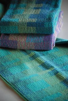 Handwoven Tea Towel Bauhaus Blues Denim by HandwovenHome on Etsy