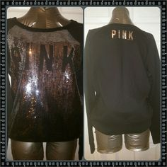 Victoria Secret Sweatshirt Cute and modern VS PINK silver sequin sweatshirt in great condition. Pair with jeans, slacks or skirts and you're all set!!! Thank you and Happy Poshing!!! PINK Victoria's Secret Tops Sweatshirts & Hoodies