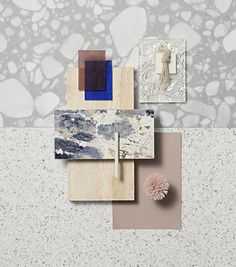 Material Mood Of The Week ~ Spring Vibes & Blue Skies ⠀ ⠀ #materialmood #moodboard #inspiration #materials #interior #design #architecture #stone #terrazzo #textiles #color #carpet #coloredglass #ateliermel #glass #yarn #plastic #pattern #project #studiodavidthulstrup