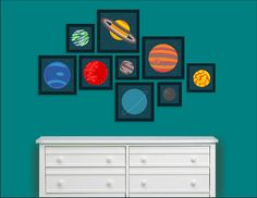 30% off - Planets in our Solar System - Childrens Wall Decor. $73.50, via Etsy.