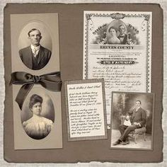 """Heritage Scrapbook Layout """"Framing"""" the pics"""