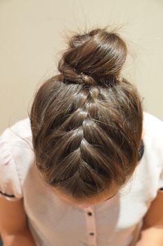 French braid ending in a bun