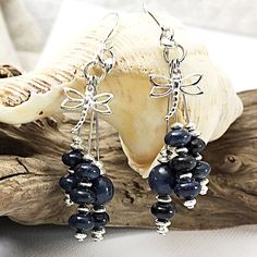 Just added to the sale this morning: gorgeous dangle earrings in sterling silver and dark blue dumortierite! Choose the charms you love to finish these earrings: dragonflies, hearts, or feathers. Limited quantity available so grab yours today! Gemstone Earrings, Statement Earrings, Sterling Silver Earrings, Dangle Earrings, Handmade Chandelier, Dragonflies, Chandelier Earrings, Feathers, Dark Blue