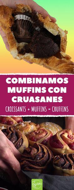 Combinamos muffins con cruasanes. ¿El resultado? ¡EXTRAORDINARIO! #muffin #croissant #cruffin #dulces #innovador #mezcla #hibrido #chocolate Cupcakes, Croissants, Sweet Desserts, Muffins, Sweets, Beef, Chocolate, Queso Manchego, Cooking