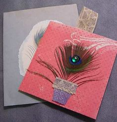 Small note card with Peacock feather