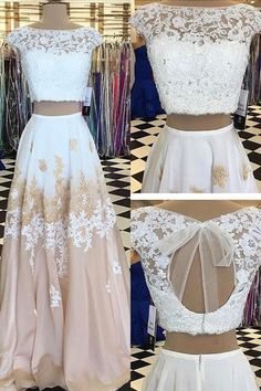 Champagne chiffon white lace two pieces applique handmade long dresses