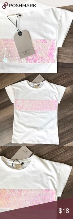 Zara Girls Shimmer Tee Zara Girls soft collection Tee with shimmery sequin decal. Size 6 years (45.7 inches) NWT. Zara Shirts & Tops Tees - Short Sleeve