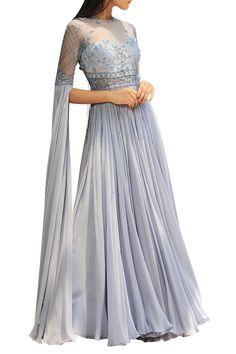Buy Flared anarkali set with elongated sleeves by Mahima Mahajan at Aza Fashions Indian Gowns Dresses, Indian Fashion Dresses, Dress Indian Style, Indian Designer Outfits, Designer Dresses, Designer Bridal Lehenga, Bridal Lehenga Choli, Sleeves Designs For Dresses, Gowns With Sleeves