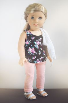 Tank by QTΠ Doll Clothing Sweater by Buzzin' Bea Pants by Sparrow and Wren Sandals by Modern Doll World #americangirldoll